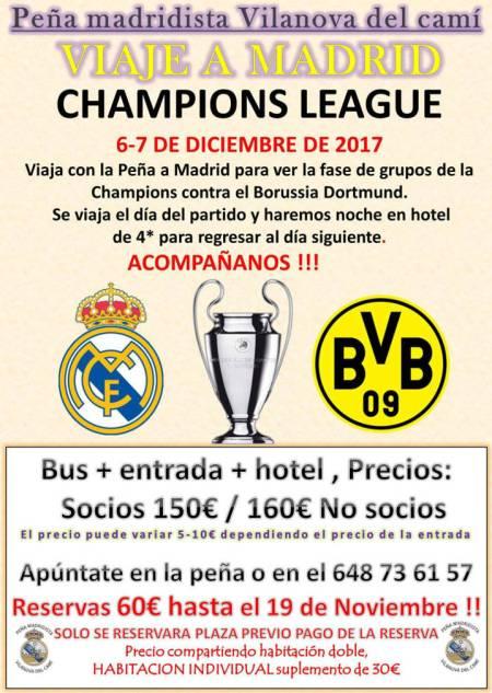 Peña Madridista Viaje Madrid des17 cartell