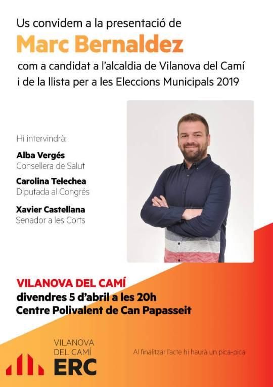 ERC Marc Bernaldez presentacio candidat cartell