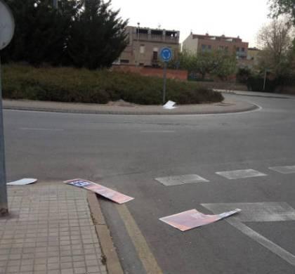 Vandalisme enfocat en l'arrasada de cartells i pancartes electorals a Vilanova del Camí