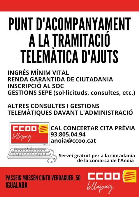 CCOO Cartell servei ajuda telematica
