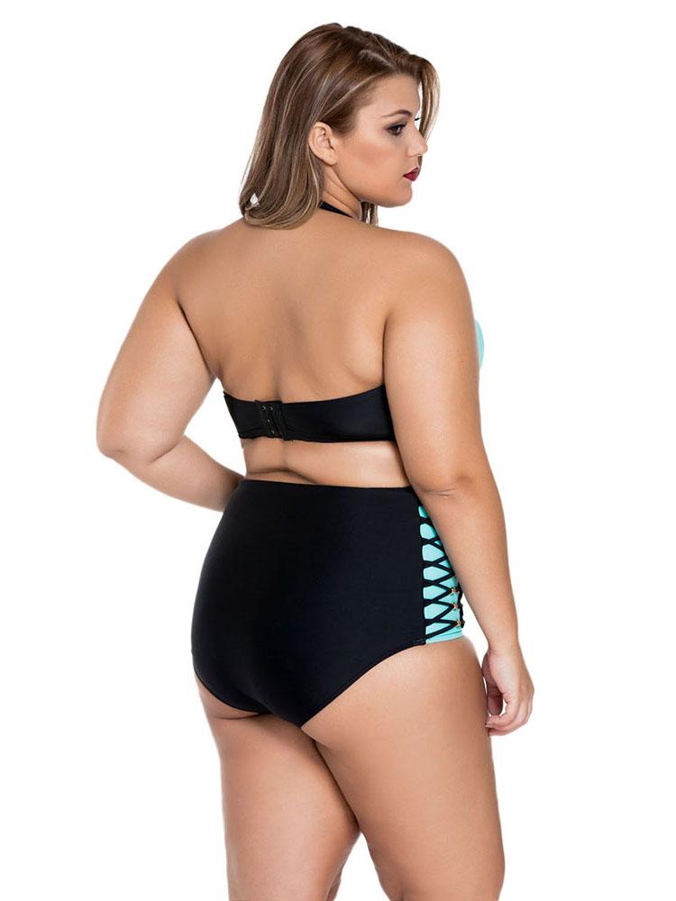 Removable Halter Strap Hi Waist Plus Size Bikini Bathing Suits