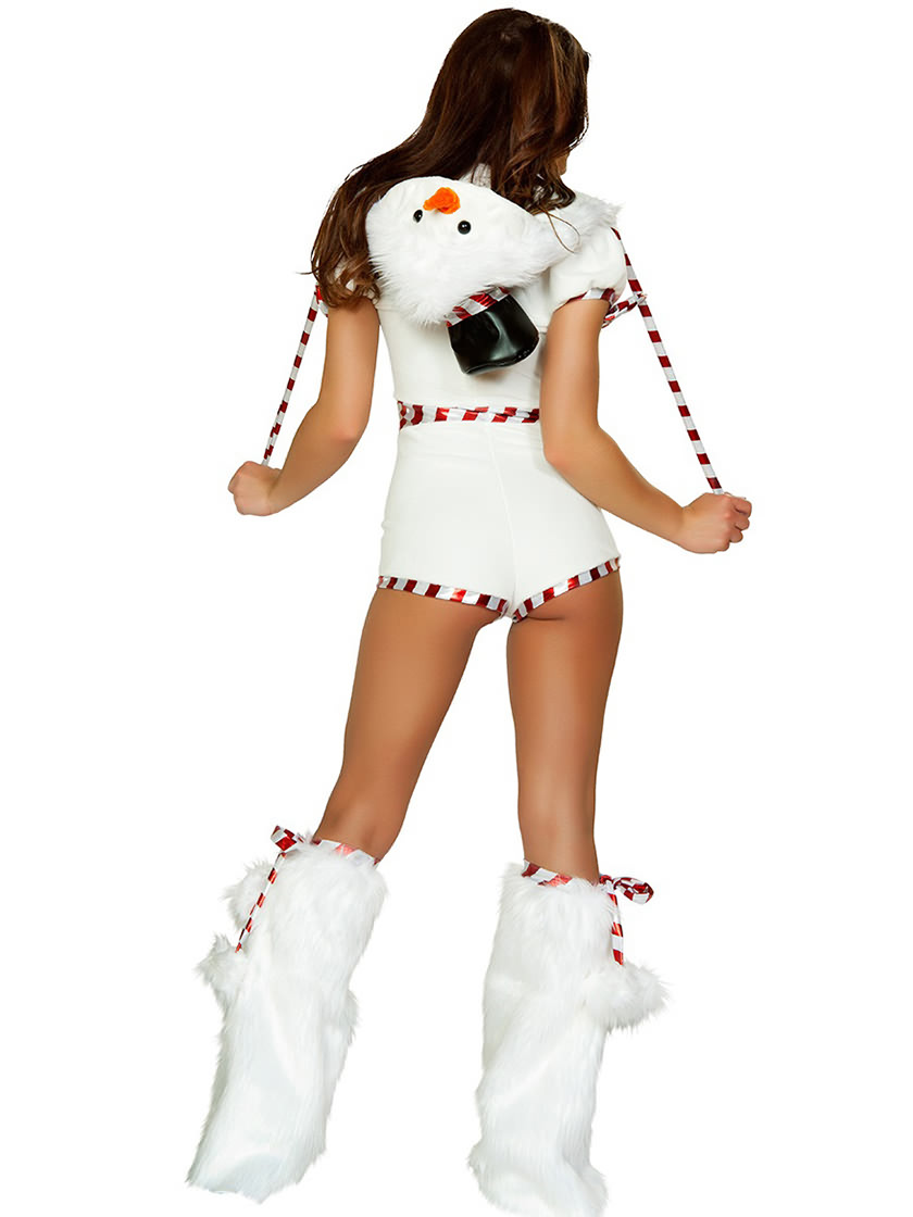 Short Sleeves Hooded Cute Womens Snowman Costume White Red