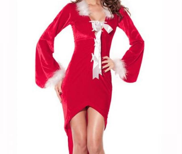 Red White Women Christmas Outfit Ideas One Piece Long Sleeve Cut Out Back Irregular Dress