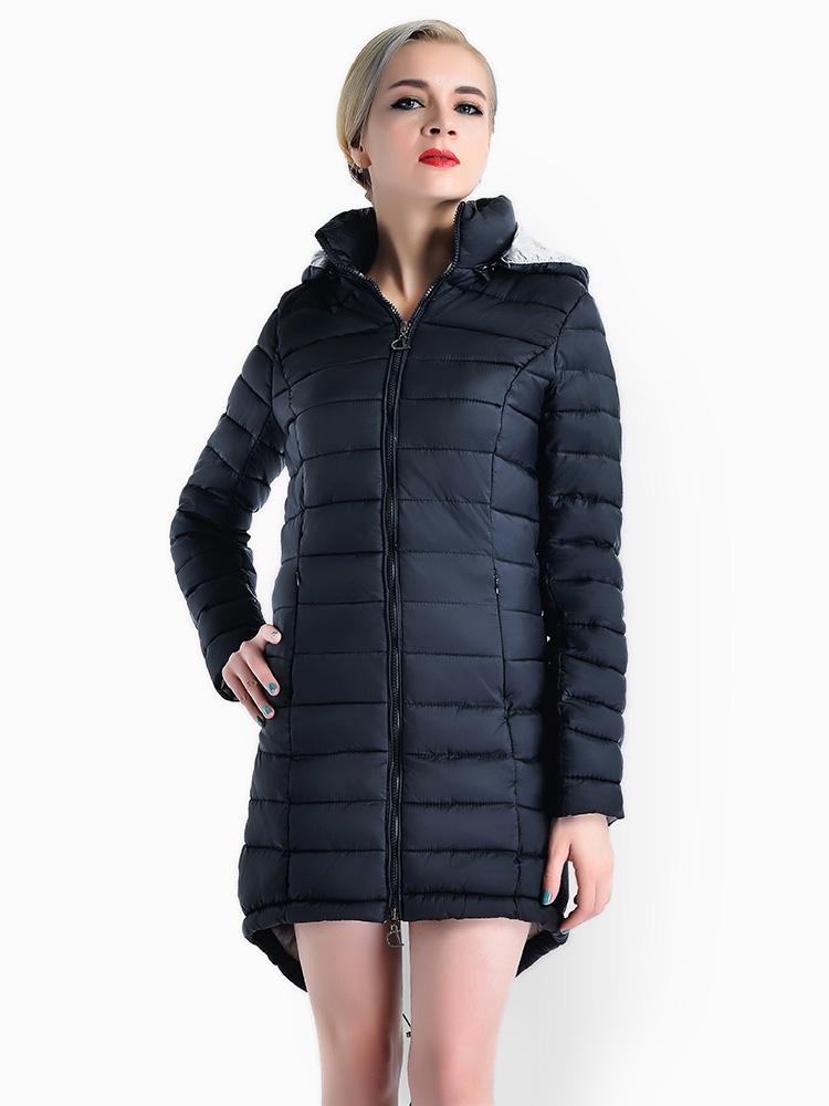 Two Way Zipper Asymmetric Hemline Hooded Spring Parka Coat For Women On