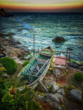 A boat in the last town on the coastline Rezovo