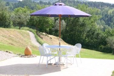 Sun terrace and lavender path