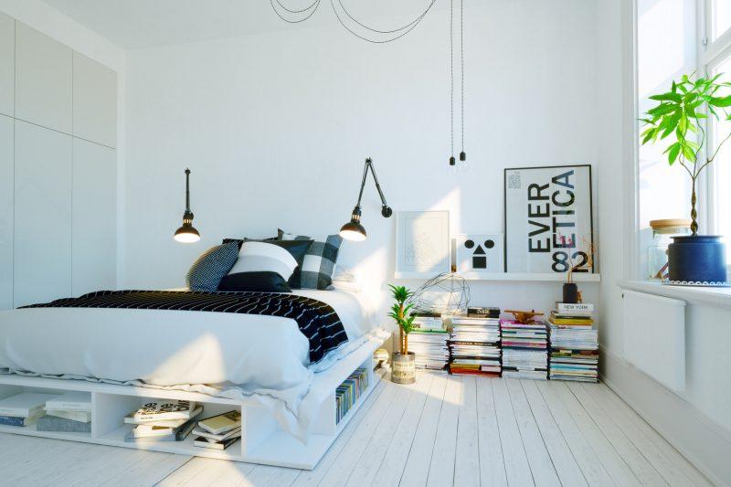 mała sypialnia skandynawska