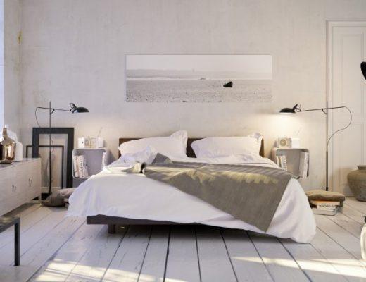 nowoczesna jasna sypialnia