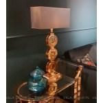 złota lampa stołowa art deco