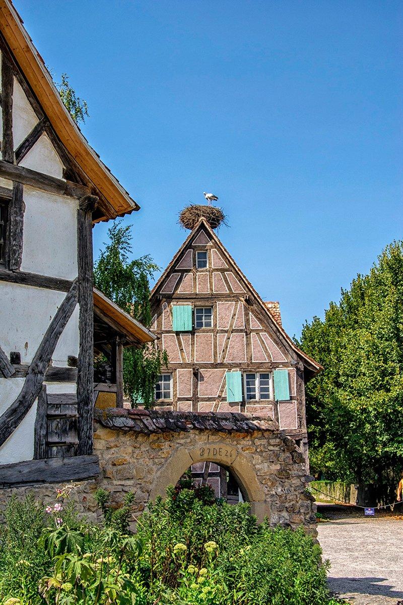Volets turquoises sur une maison Alsacienne