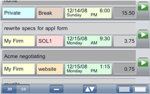 Entry list viewshows an example of entries made to record time spent on activities.