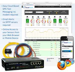 cloud-based monitoring service with easy-to-use text messaging and email alerting systems. Online access to sensor data from any web browser or mobile device.