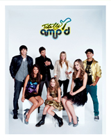 "Standing, l to r: Brock Morgan (""Tyler""), James A. Woods (""Archie""), Ashley Leggat (""Zoe""), Demetrius Joyette (""Brando"") and sitting, l to r, Cristine Prosperi (""Aria""), Camden Angelis (""Lexi"") and Amanda Thomson (""Madison"") (Shaftesbury)"