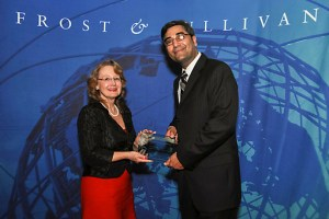 Joan Vogelesang, Toon Boom's President & CEO, accepts Frost & Sullivan Award.
