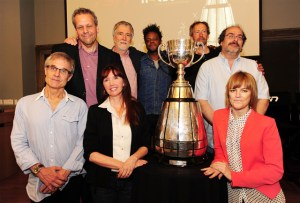 """Eight of Canada's most acclaimed documentary filmmakers gather at TSN's Hot Docs presentation unveiling their films for the documentary series, """"Engraved on a Nation: Stories of the Grey Cup, the CFL and Canada"""". The documentaries premiere on TSN in September. (Photo: TSN)"""