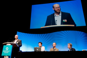 Roy C. Anthony introduces a Production Session during SIGGRAPH 2014 in Vancouver. (Photo: Business Wire)