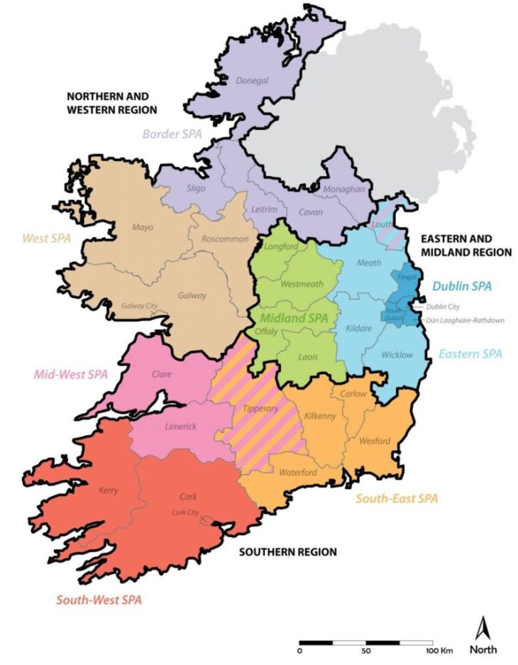 Ireland's 3 Regions and 8 Strategic Planning Areas as per the Local Government Act 1991 (Regional Assemblies) (Establishment) Order 2014