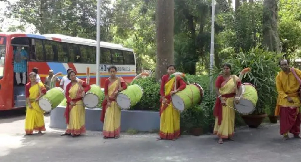 Women dhakis are steeping out of their home and hearth to play the drum. Courtesy of VillageSquare.in
