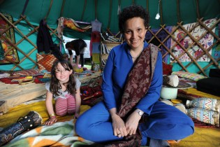 A Working Life - professional storyteller Sita Brand in the yurt (Mongolian tent) where she performs at the Limetree Festival, Grewelthorpe, near Ripon, North Yorkshire.