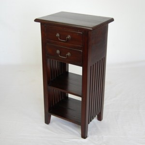 Java 2 Drawer Slatted Side Table - Dark