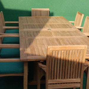 Teak Large Rectangular Double Extending Table