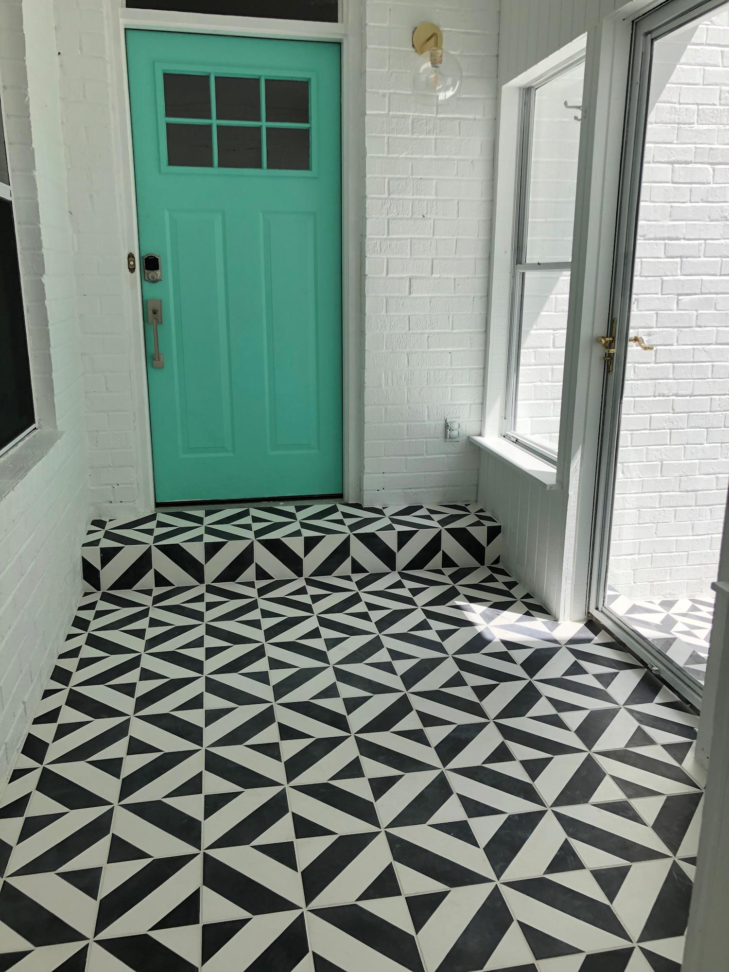 diagonal striped cement tile villa