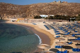 The deep Agrari Beach in Mykonos