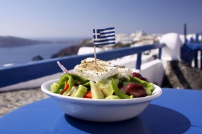 "The popular greek salad with ""feta"" cheese"