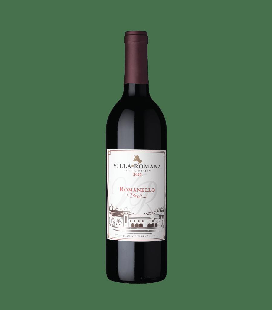 A bottle of 2020 Romanello Cabernet Sauvignon wine from Villa Romana Estate Winery