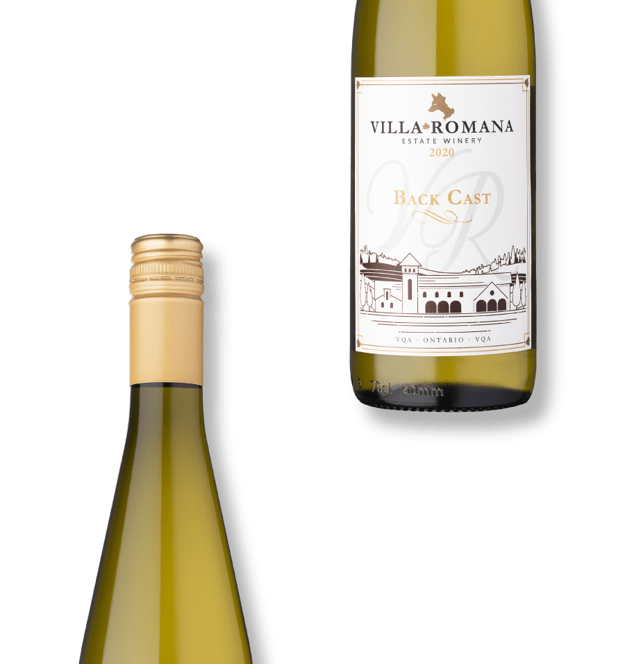 Two bottles of 2020 Back Cast wine from Villa Romana Estate Winery with a white background.