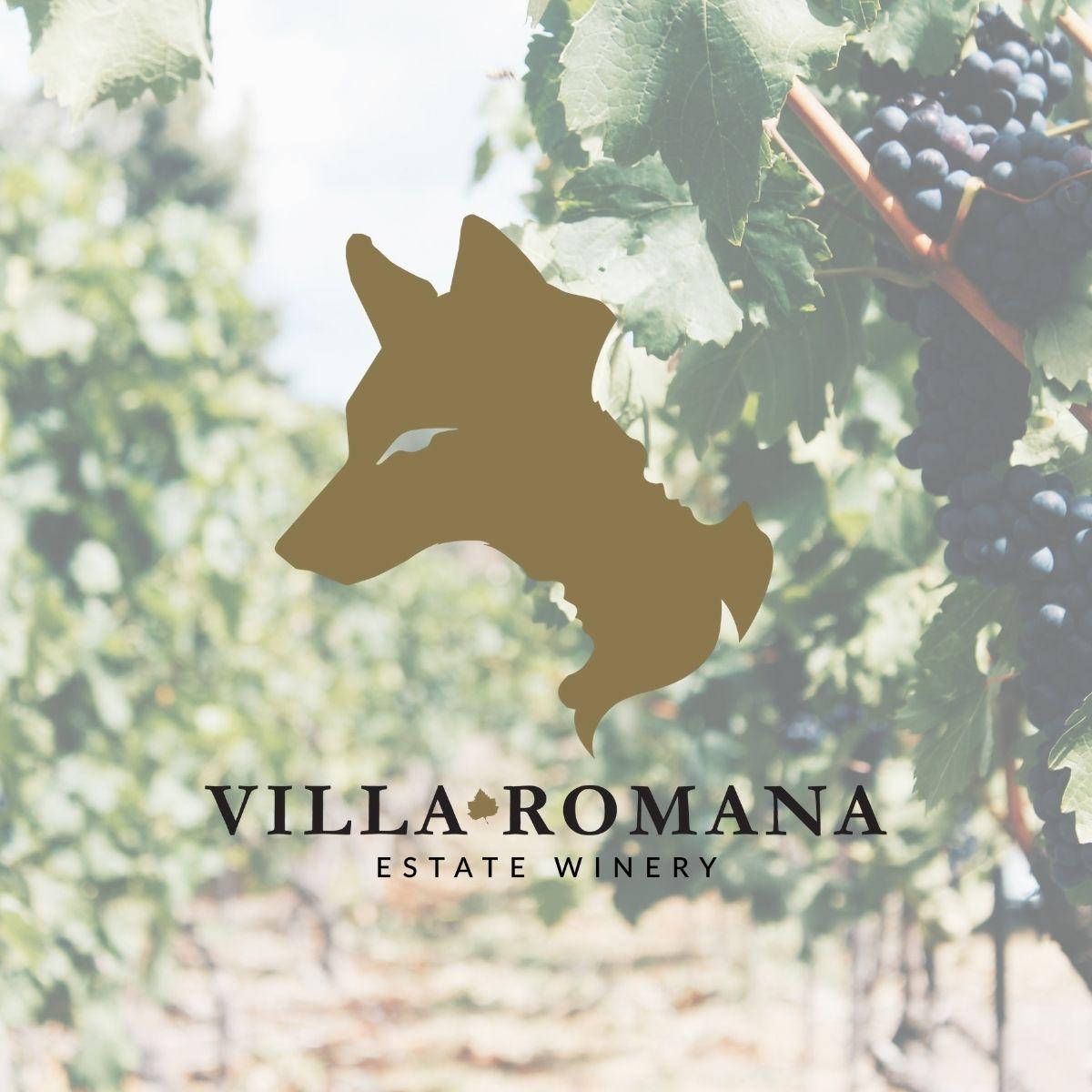 Villa Romana Estate Winery Logo hovering over a blurred image of rows of dark purple grape vines.
