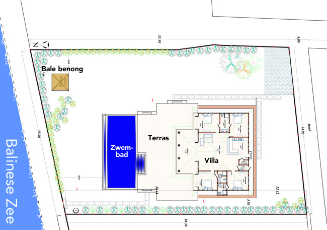 Plattegrond van Villa Senang en de tuin