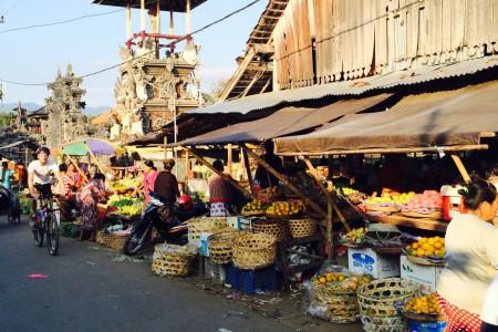 Op de mountainbike langs de markt.
