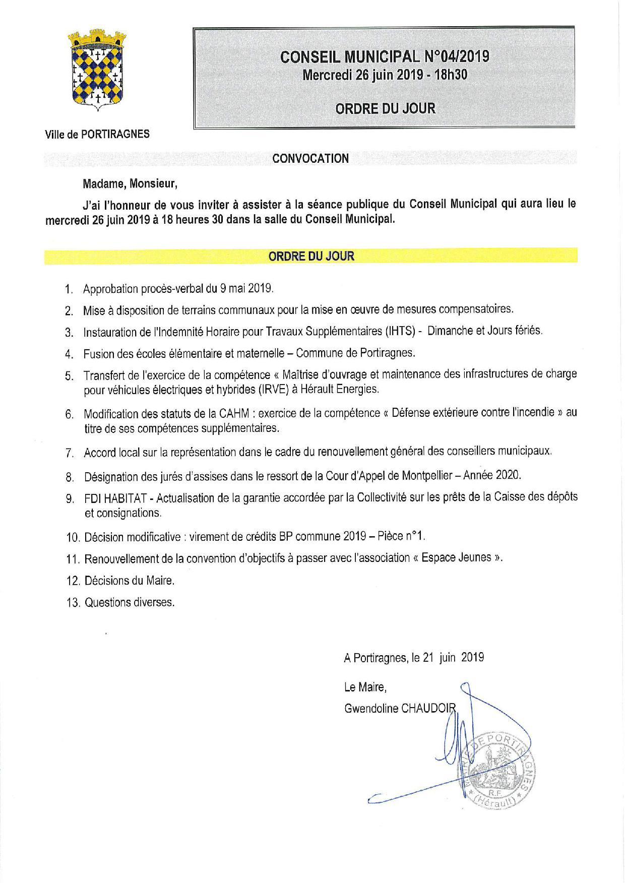 Conseil Municipal 26 juin
