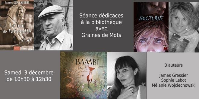 3 auteurs en dédicace à la bibliothèque avec Graine de Mots