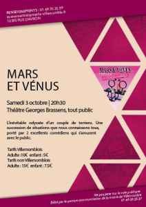 Théâtre : Mars & Vénus de Sébastien Cypers @ Théâtre Georges Brassens
