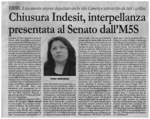 interpellanza urgente m5s senato indesit