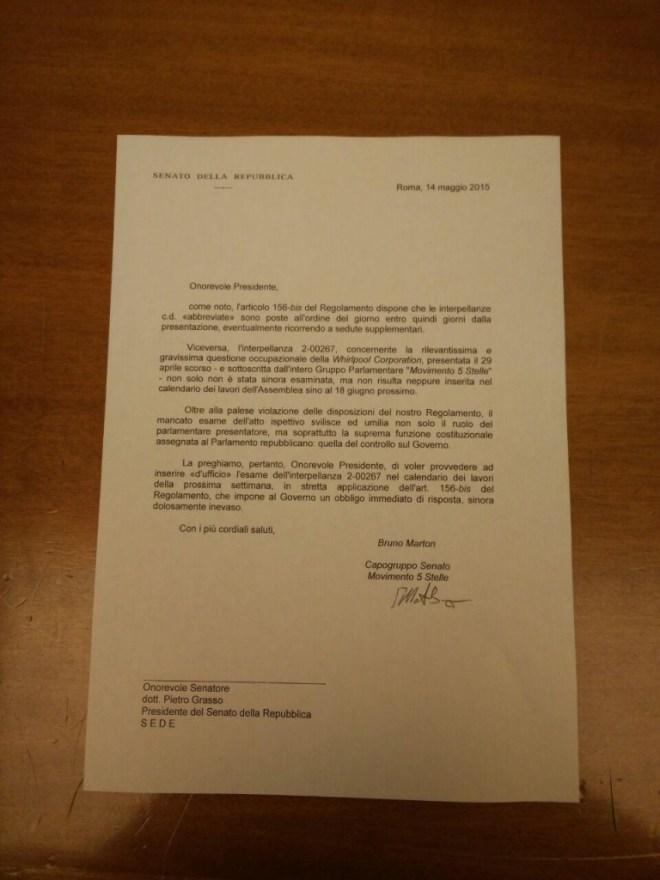 La lettera inviata al Presidente del Senato, Pietro Grasso