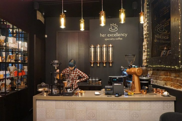 Barista at Her Excellency cafe