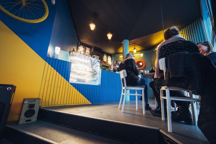 Interior of Chaika cafe in Vilnius