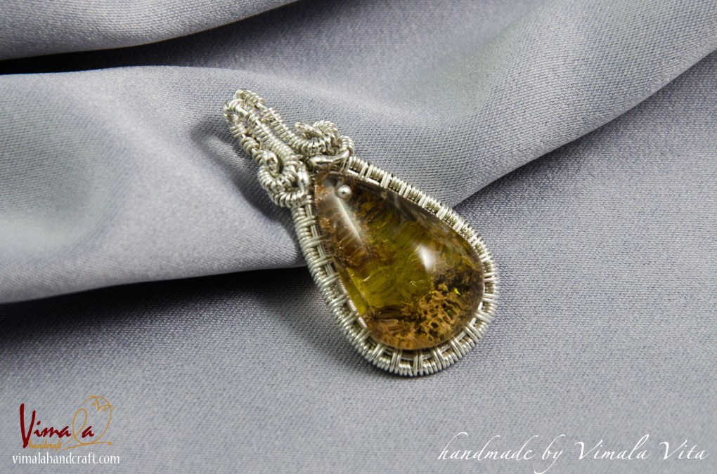 Wire Wrapped Jewellery Pendant with Garden Quartz (Lodolite) and Sterling Silver Wire, Vimala Handcraft