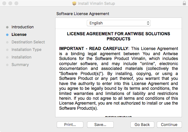 Vimalin Installation license agreement