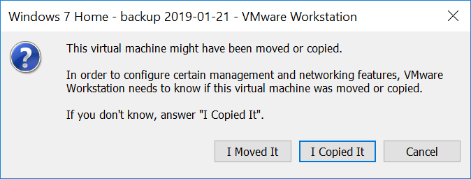 VMware workstation - copy or move question