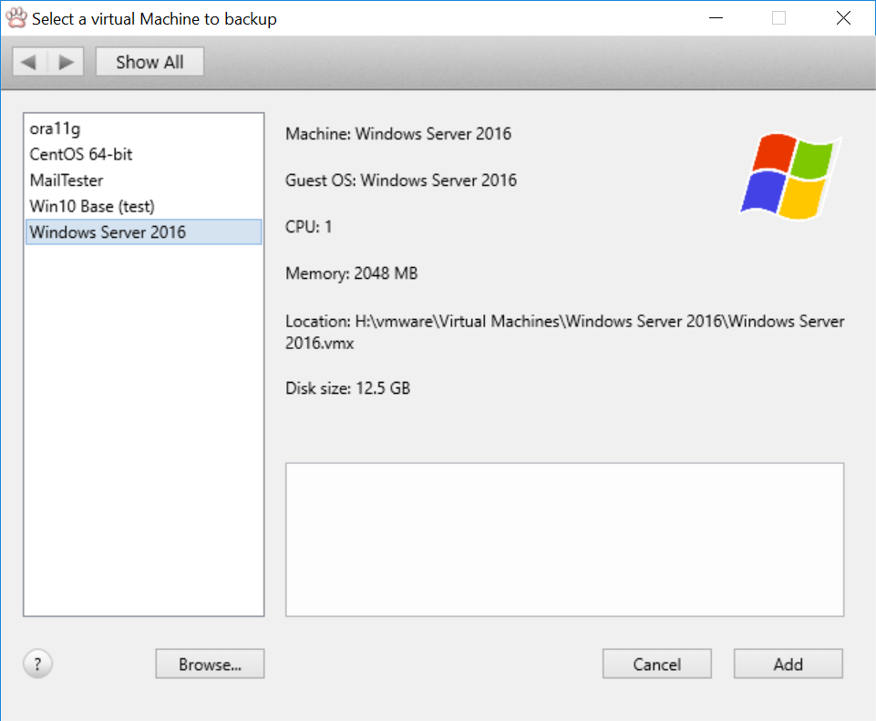 Vimalin - select a VM to backup