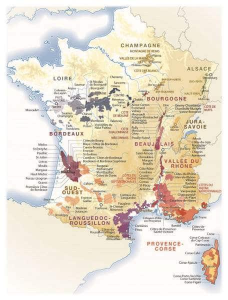 Carte des appellations de vin