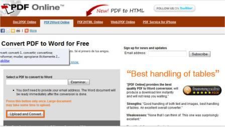 pdfonline PdfOnline   Convertir archivos Pdf a Word