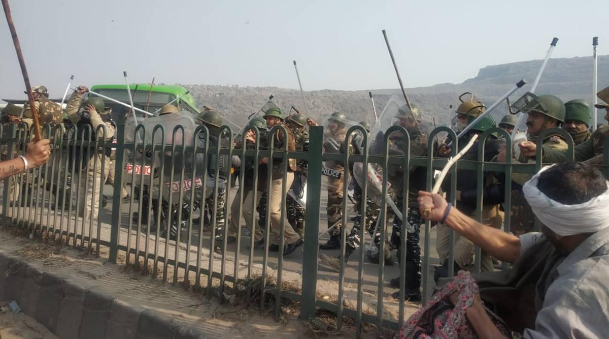 டிராக்டர் பேரணி : விவசாயிகள் மீது போலீசு தடியடி ! கண்ணீர்ப் புகைக் குண்டு வீச்சு !
