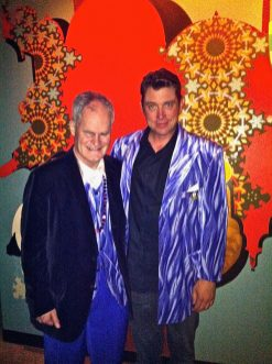 Trading coats with FilmBar owner, Kelly Aubey.