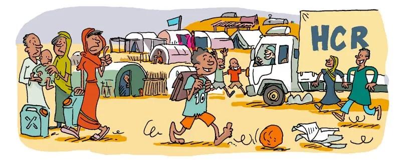 Darfour, Illustration de Vincent Rif pour le livre La terre des enfants, paru aux éditions Milan