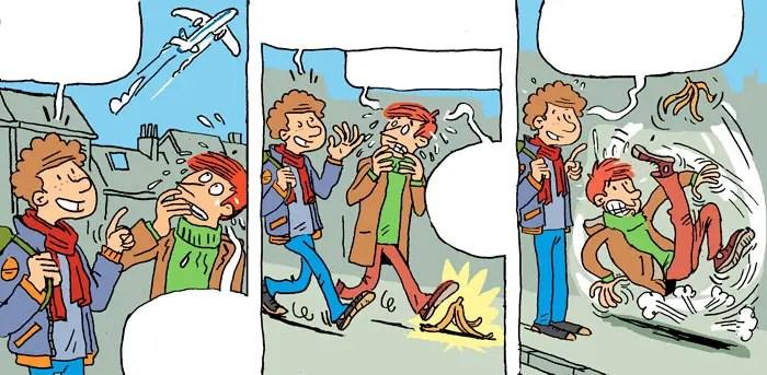 Petit strip pour les Editions Averbode. Phylactères complétés par la rédaction de Averbode.